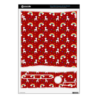 Red rainbow unicorn hearts stars pattern decals for xbox 360 s