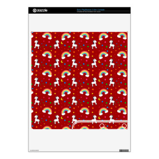 Red rainbow unicorn hearts stars pattern decal for PS3 slim