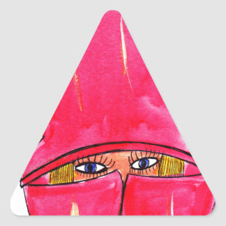 Red Raincoat Triangle Sticker