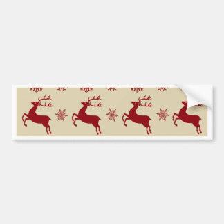 Red Raindeers Car Bumper Sticker