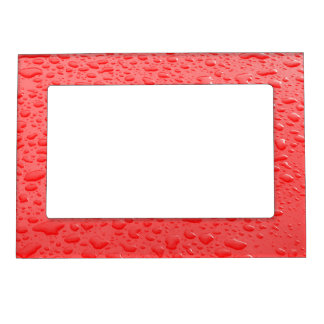 Red Raindrops on Car Magnetic Picture Frame