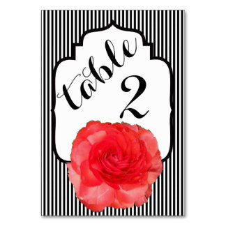 Red Ranunculus Black and White Striped Table Card