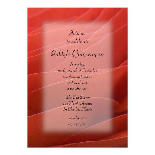 Red Ranunculus Quinceanera Party Invitation