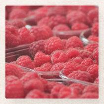 Red Rasberries in a Basket Glass Coaster