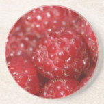 Red Raspberries close up photograph Beverage Coaster