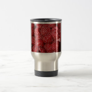 Red Raspberries close up photograph 15 Oz Stainless Steel Travel Mug