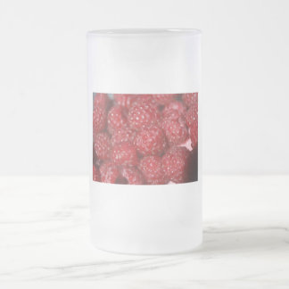 Red Raspberries close up photograph 16 Oz Frosted Glass Beer Mug