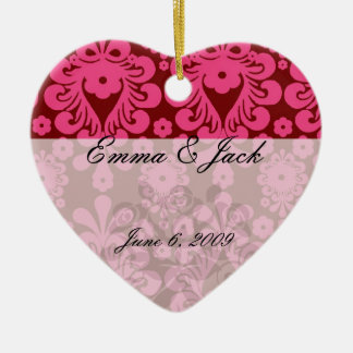 red raspberry and brown mod damask ceramic ornament