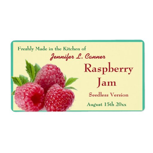 Red Raspberry Jam or Preserves 2 Canning Jar Shipping Labels