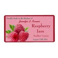 Red Raspberry Jam or Preserves Canning Jar Label