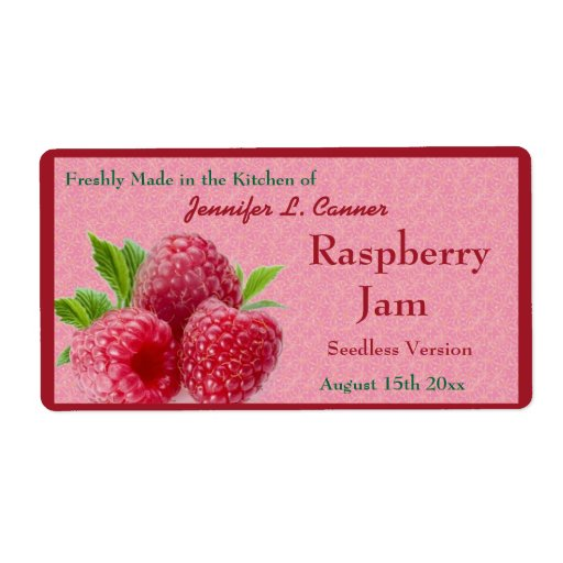 Red Raspberry Jam or Preserves Canning Jar Labels