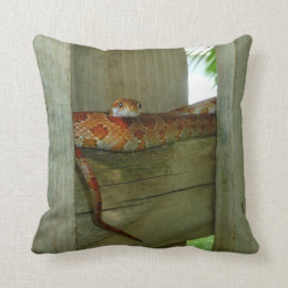 red rat snake in fence head up throw pillow