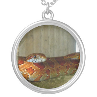 red rat snake side head round pendant necklace