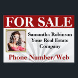 "Red Real Estate Agent Broker Custom Photo Sign<br><div class=""desc"">Add a photo of the selling real estate agent , along with the broker company business name and contact information. This red and white yard sign makes an easy to use, lightweight sign for any real estate company to use. Great for small businesses, investors and new agents. Red and white,...</div>"