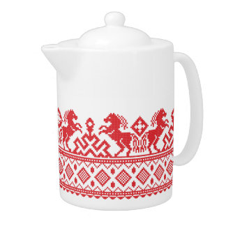 Red rearing horses teapot