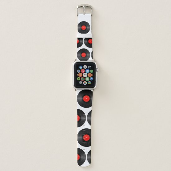 Red Record Label Apple Watch Band