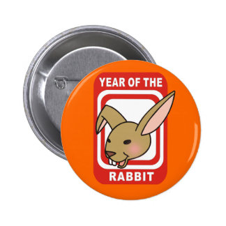 Red Rectangle Year of the Rabbit Tshirts Pins