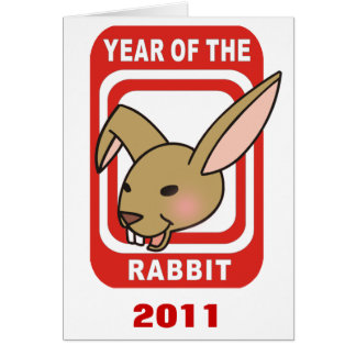 Red Rectangle Year of the Rabbit Tshirts Greeting Card