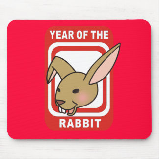Red Rectangle Year of the Rabbit Tshirts Mouse Pad