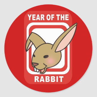 Red Rectangle Year of the Rabbit Tshirts Round Sticker