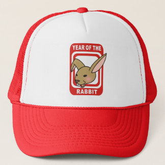 Red Rectangle Year of the Rabbit Tshirts Trucker Hat