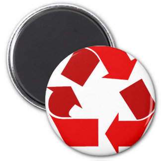 red recycle 2 inch round magnet