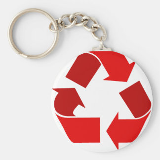 red recycle keychain