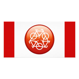 Red recycle symbol card
