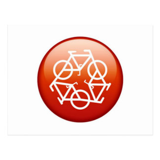 Red recycle symbol postcard