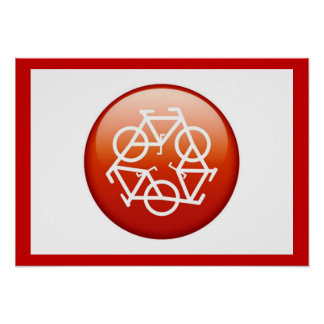 Red recycle symbol poster
