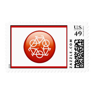 Red recycle symbol stamps