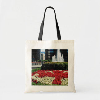 Red Red and white maple leaf display, Vancouver, C Bag