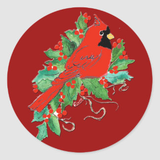 RED RED CARDINAL CHRISTMAS Stickers