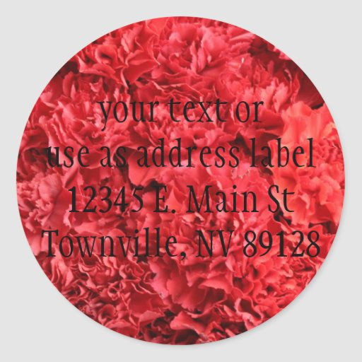 Red Red Carnations Round Stickers