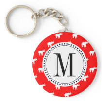 Red Red Elephant pattern Keychain