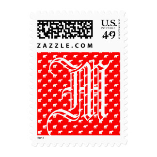 Red Red Elephant pattern Postage