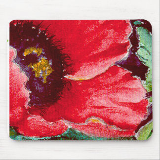 RED RED POPPY MOUSE PAD