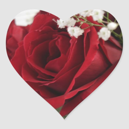 Red Red Rose - Heart Shaped Heart Sticker