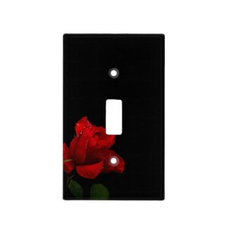 Red Red Rose on Black Switch Plate Covers