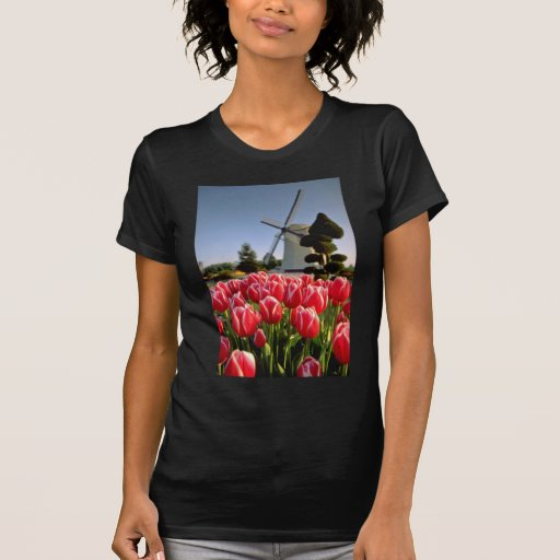 Red Red tulips and windmill flowers Tee Shirt