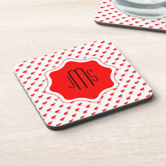 Red Red White polkadot elephant Beverage Coaster