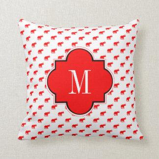 Red Red White polkadot elephant Throw Pillow
