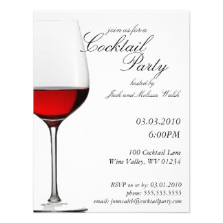 Red Red Wine Cocktail & Wine Party Invitations