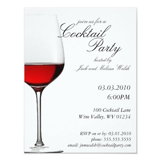 Red Red Wine Cocktail Wine Party Invitations – Red Party Invitations