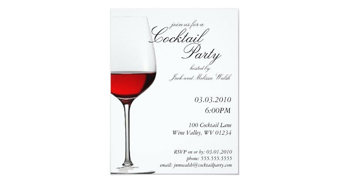 Cocktail Wedding Reception Invitation Wording: Red Red Wine Cocktail & Wine Party Invitations