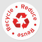 Red Reduce Reuse Recycle Sticker