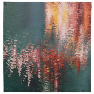 Red reflections in blue green water napkin