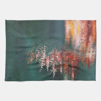 Red reflections in water abstract teatowel hand towels