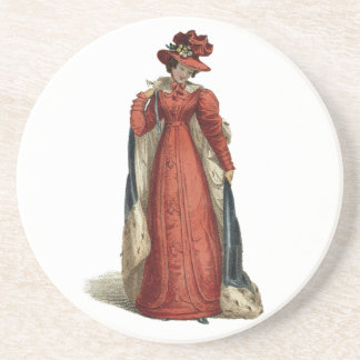 Red Regency Lady Sandstone Coaster