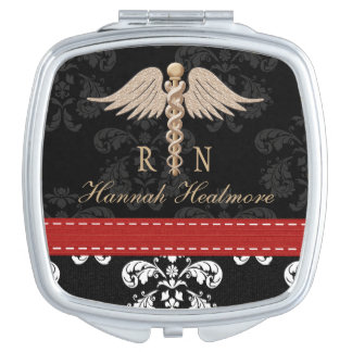 RED REGISTERED NURSE RN CADUCEUS MIRRORS FOR MAKEUP
